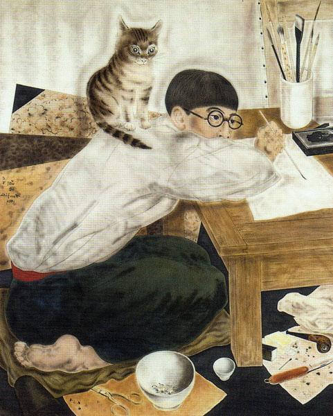 Fujita-autoportrait-dans-l-atelier